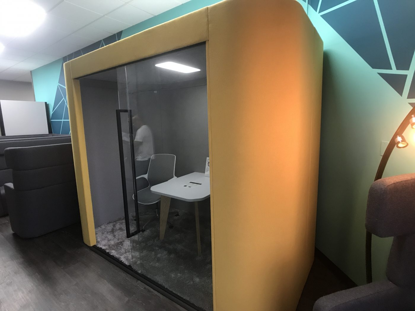 Always use an acoustic pod for confidential meetings in cowering spaces