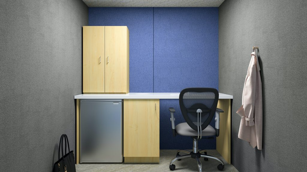 Oasis Linear Team Pod with Mothers Room millwork package